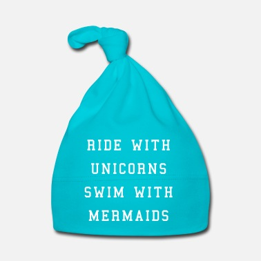 Slogan Ride With Unicorns - Bonnet Bébé