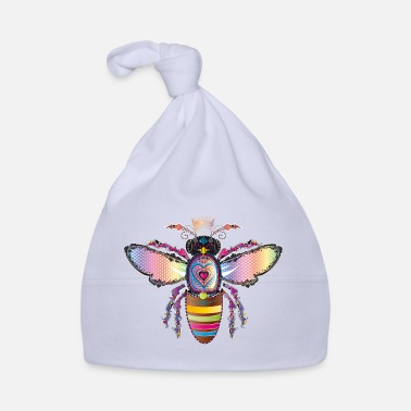 Heart Eyes colorful iridescent bees queen with crown - Baby Cap