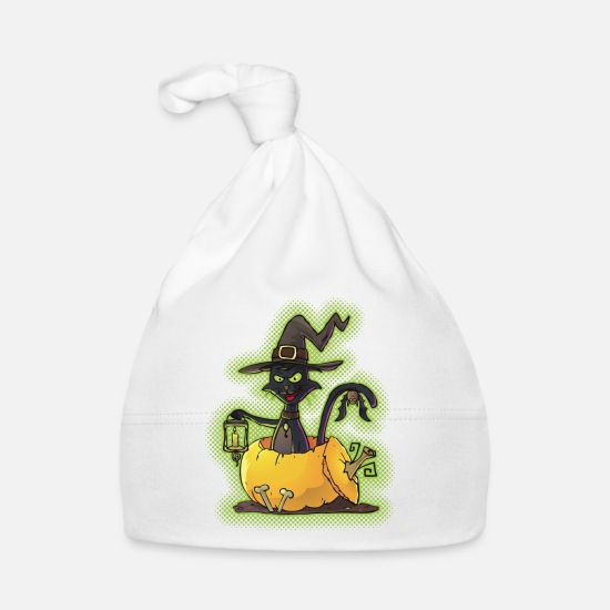 Halloween Baby Clothes - Halloween Black Witch Cat in Pumpkin - Baby Cap white