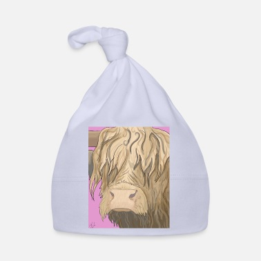 Roze Highland Cow Illustratie - Baby muts