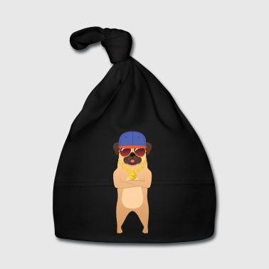Cool Hip Hop Pug With Sunglasses And Gold Chain - Bonnet Bébé