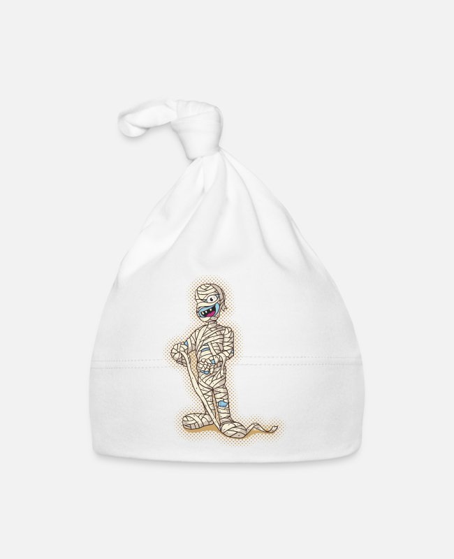 Nile Baby Caps - Old Funny Halloween Mummy - Baby Cap white