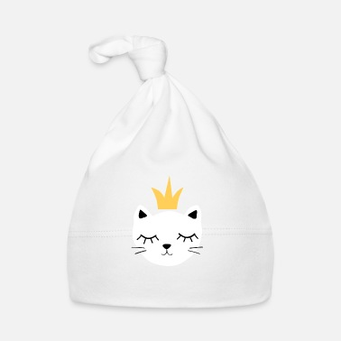 White cat with crown - Baby Cap