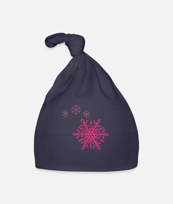Snowing Baby Caps - Snowflakes Shooting Star Glittering Magic - Baby Cap navy