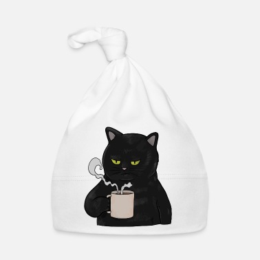 Grumpy In The Morning Grumpy Black Cat with Coffee Morning Muffle - Baby Cap