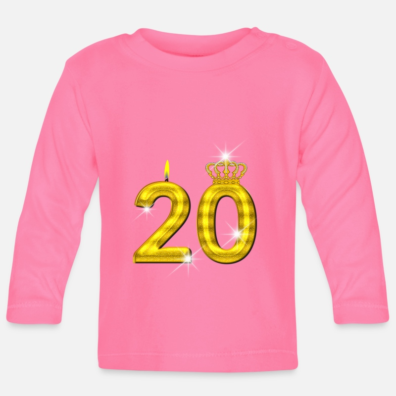 Birth Baby Clothing - 20 birthday - Crown - candle - gold - Baby Longsleeve Shirt azalea