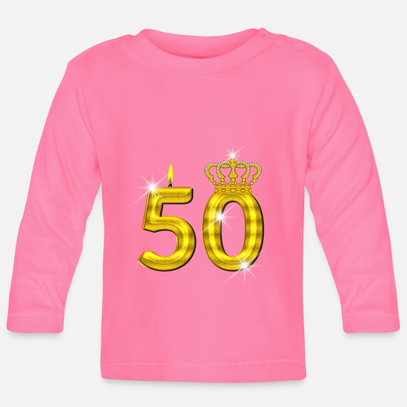 Birth Baby Clothing - 50 birthday - Crown - candle - gold - Baby Longsleeve Shirt azalea