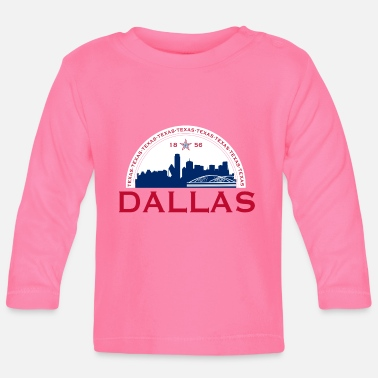 Lettering Dallas Texas 1856 Red Blue - Baby Longsleeve Shirt