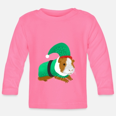 Christmas Guinea pig in an ELF suit - Baby Longsleeve Shirt
