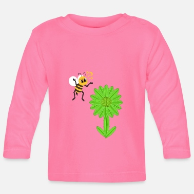 Nectar A Cute Bee Looking For A Nectar On A Cactus But - Baby Longsleeve Shirt