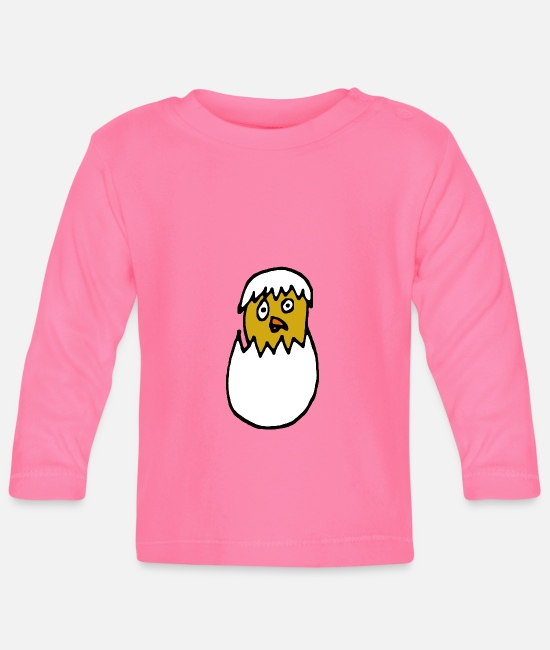 Eggshell Baby Long-Sleeved Shirts - Cute chick in eggshell - Baby Longsleeve Shirt azalea