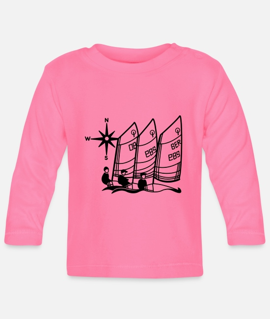 Optimist Baby Long-Sleeved Shirts - Optimist Sailing Regatta - kids - sailing kids - Baby Longsleeve Shirt azalea