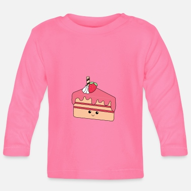 Piece of cake | Cute | Face | Strawberry | cream - Baby Longsleeve Shirt