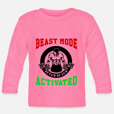 Biest Beast Mode Activated 1- Bodybuilder Fitness Gym - Baby Longsleeve Shirt