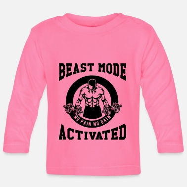 Biest Beast Mode Activated 3- Bodybuilder Fitness Gym - Baby Longsleeve Shirt