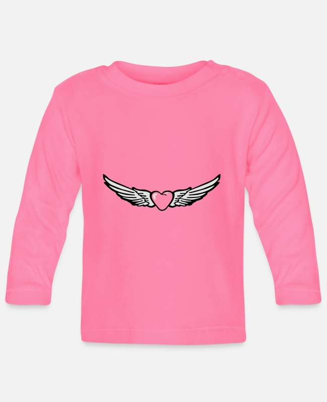 Heart Baby Long-Sleeved Shirts - Wings Heart Love - Baby Longsleeve Shirt azalea