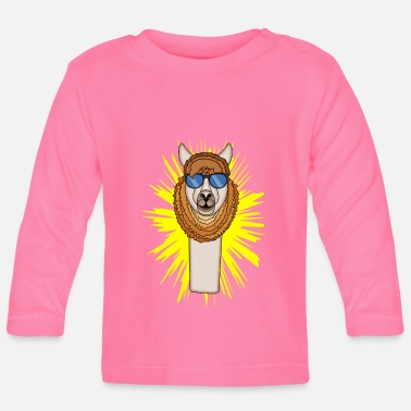 Flashy llama with flashy glasses on shines - Baby Longsleeve Shirt