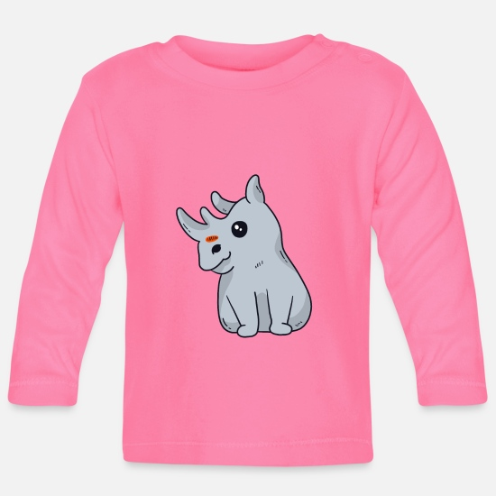 Rhinoceros Baby Clothes - Real Unicorns curves gift - Baby Longsleeve Shirt azalea