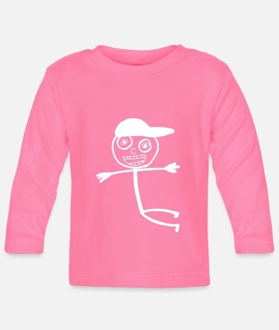 Doodle Baby Long-Sleeved Shirts - Kid In A Cap - White - Baby Longsleeve Shirt azalea