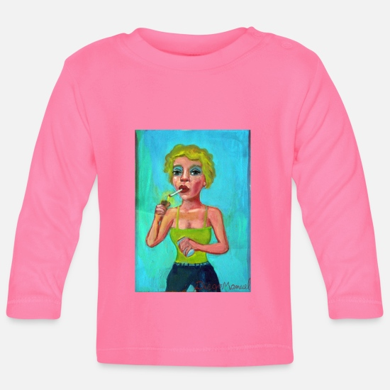 Love Baby Clothes - Blonde with cigarette 3 - Baby Longsleeve Shirt azalea