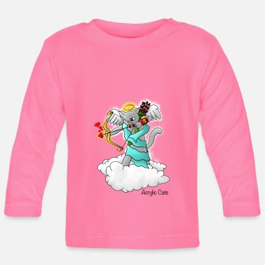 Cupide Saint-Valentin Smokey Grey Cupid Cat - T-shirt manches longues Bébé