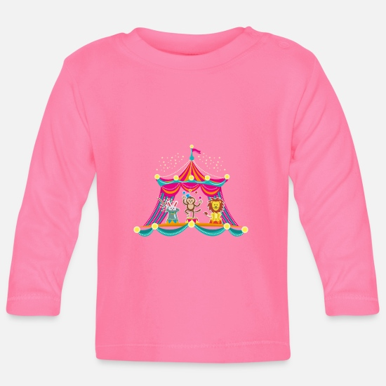 School Girls Baby Clothes - Circus - Monkey Circus - Circus Animals Hare Lion - Baby Longsleeve Shirt azalea