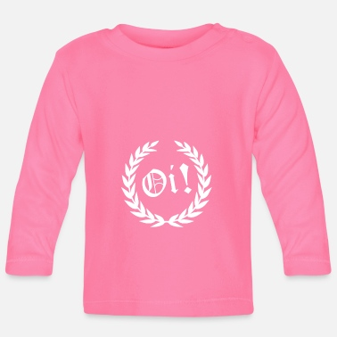 Skinhead OI Laurel Wreath White Font Skinhead Punk Shirt - Baby Long Sleeve T-Shirt