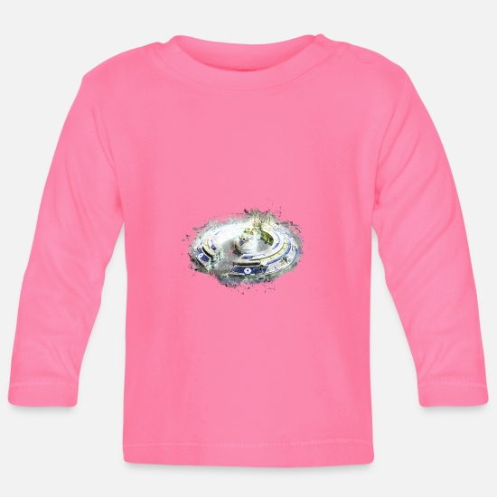Art Baby Clothes - Spaceship isolated brightly glowing - Baby Longsleeve Shirt azalea