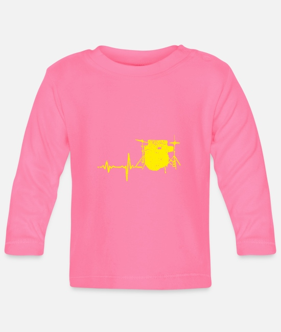 Birthday Baby Clothes - Gift heartbeat drums yellow - Baby Longsleeve Shirt azalea