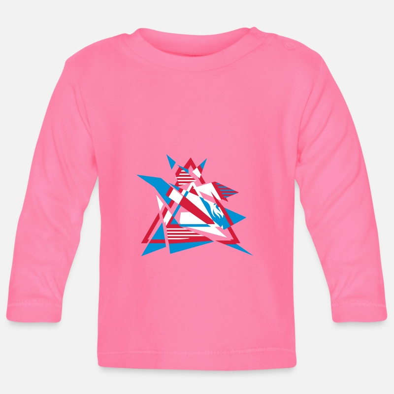 Hipster Baby Clothing - Hipster Triangle Design - Baby Longsleeve Shirt azalea