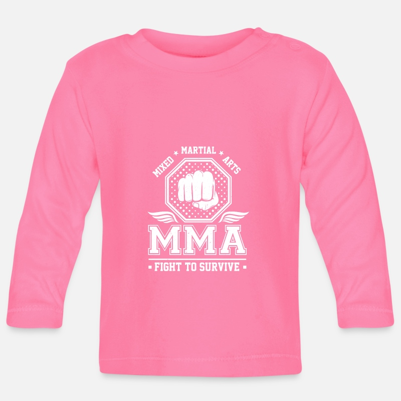 Aikido Baby Clothing - Mixed Martial Arts MMA Fight to survive - Baby Longsleeve Shirt azalea