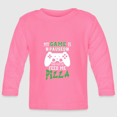 To My game is paused feed me pizza - Langærmet babyshirt