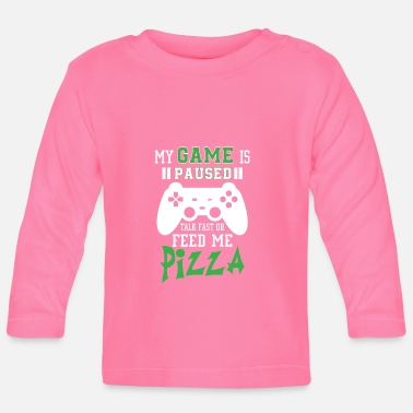Pizza My game is paused feed me pizza - Maglietta a manica lunga per bambini
