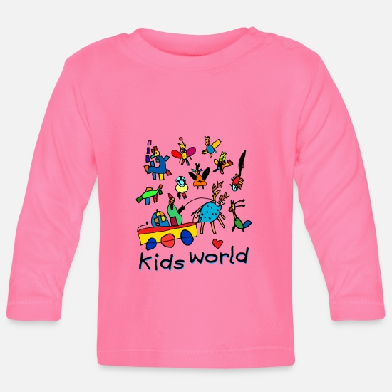 Birthday Baby Clothes - Kids World II - Baby Longsleeve Shirt azalea