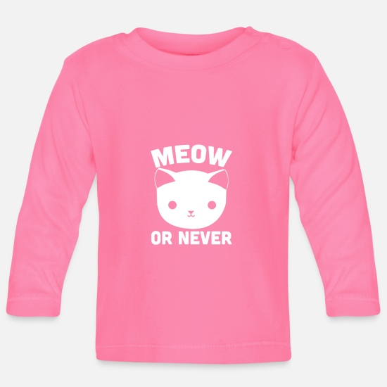 Hipster Baby Clothes - Cat's gift meow or never cat's head - Baby Longsleeve Shirt azalea