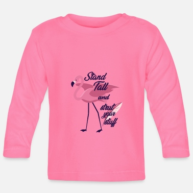 Officialbrands Flamingo Stand Tall And Strut Din Stuff T-Shirt - Langærmet babyshirt