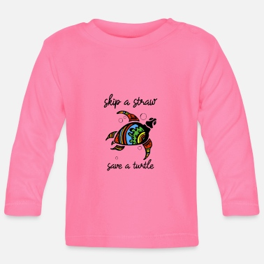 Officialbrands Skip a Straw Save A Turtle Stop Ocean Pollution - Baby Long Sleeve T-Shirt