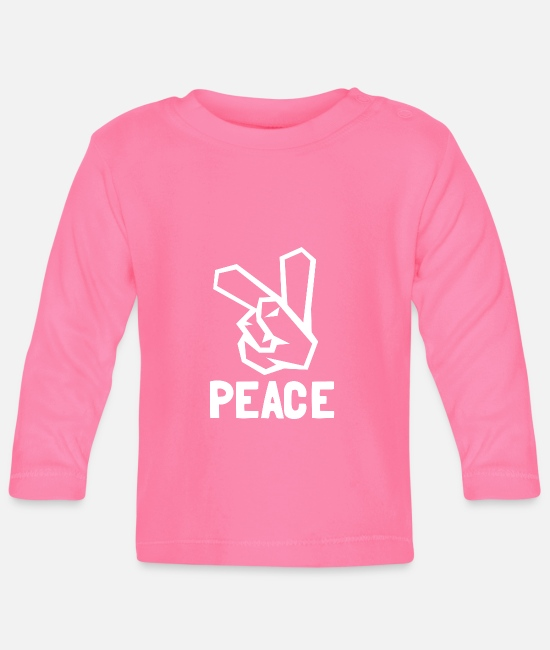 Peace Baby Long-Sleeved Shirts - Peace Sign, Peace Sign, Peace - Baby Longsleeve Shirt azalea
