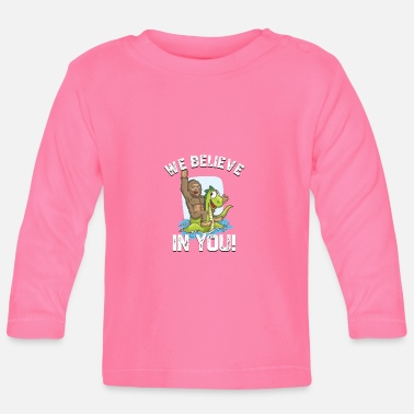 Bigfoot Riding Nessie We Believe in You Loch Ness - Baby Long Sleeve T-Shirt