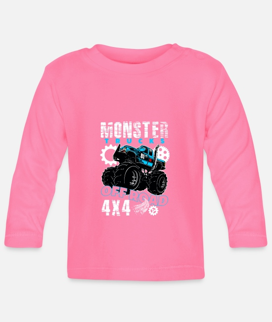 Monster Jam Baby Langarmshirts - Monster Truck 4x4 Off Road - Baby Langarmshirt Azalea