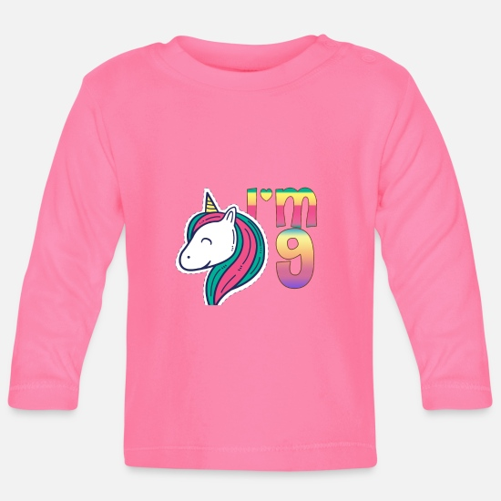 Top Unicorn Gifts For Girls Baby Clothes - I'm 9 Unicorn Birthday - Baby Longsleeve Shirt azalea