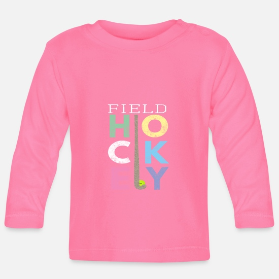 Field Hockey Baby Clothes - Cute Girls Field Hockey Gift Design LOVE Field - Baby Longsleeve Shirt azalea