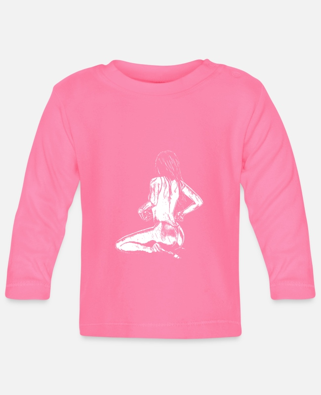 Naked Woman Baby Long-Sleeved Shirts - Woman in white - Baby Longsleeve Shirt azalea