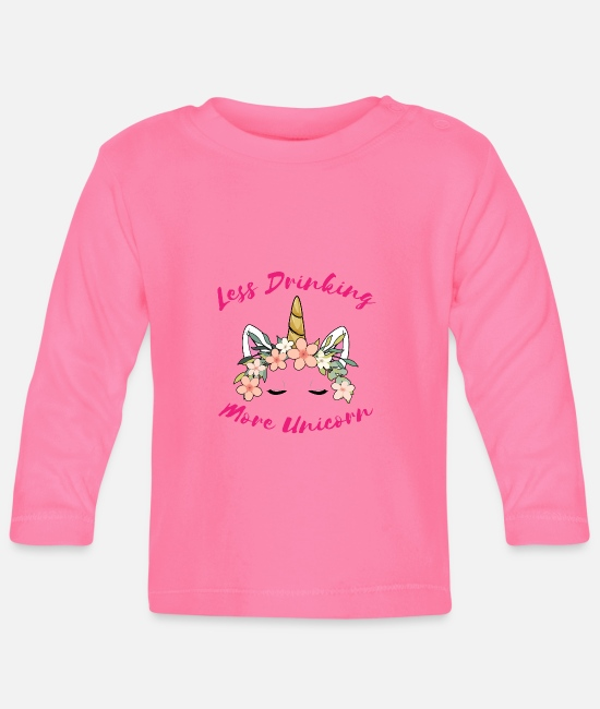 Drunkard Baby Long-Sleeved Shirts - Anti alcohol Alcoholic opponent unicorn - Baby Longsleeve Shirt azalea