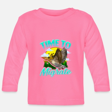 Migration Time To Migrate Goose Bird Migration Pun - Baby Longsleeve Shirt