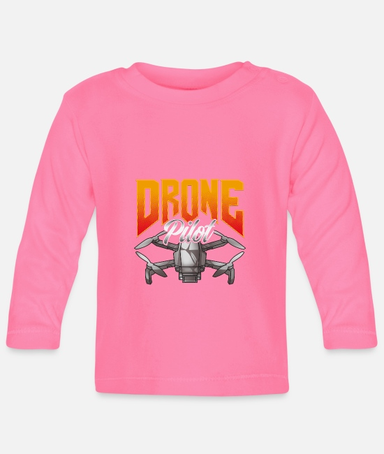 Drone Flying Baby Long Sleeve Shirts - Funny Drone Pilot Droning Obsessed - Baby Longsleeve Shirt azalea