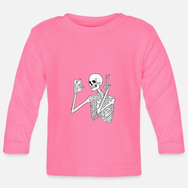 Mobile Phone Skeleton with mobile phone - Baby Longsleeve Shirt