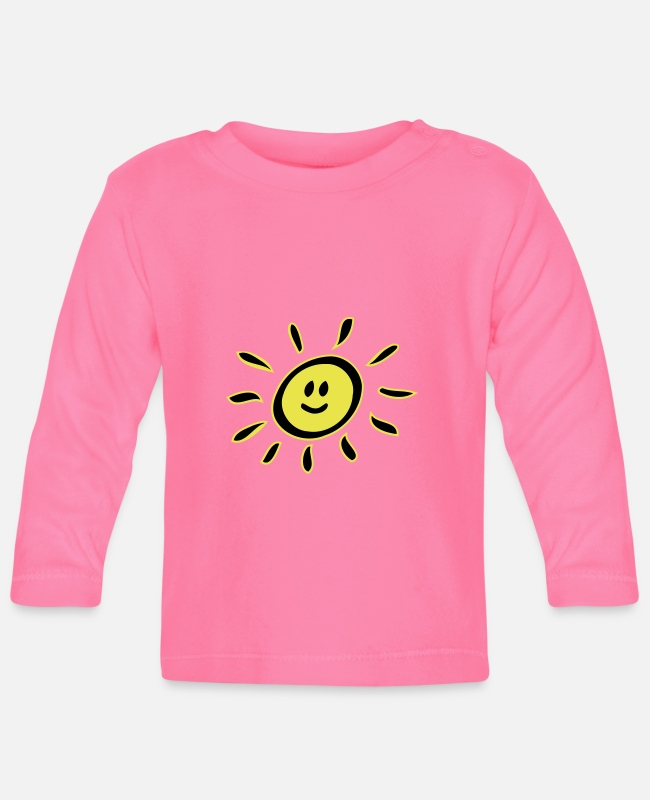 Cheerful Baby Long-Sleeved Shirts - Smiley sun - Baby Longsleeve Shirt azalea
