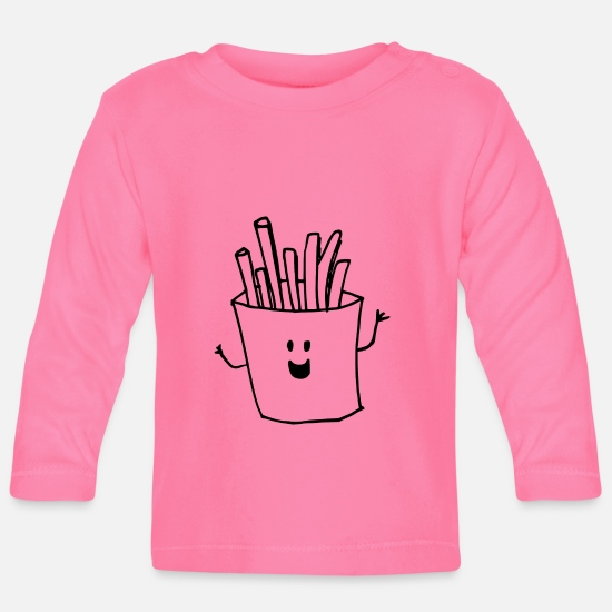 French Fries Baby Clothes - Happy fries - Baby Longsleeve Shirt azalea