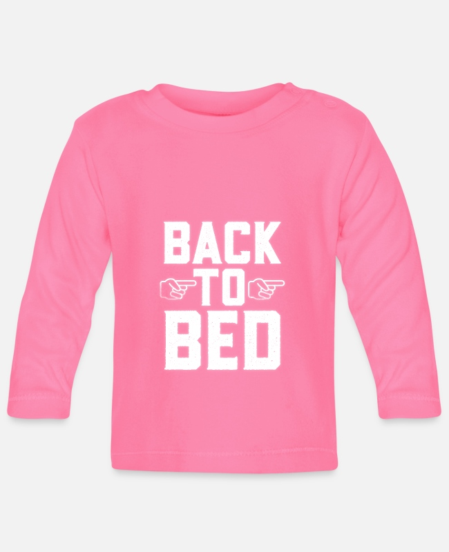 Sexy Baby Long-Sleeved Shirts - Back To Bed Pointing Finger Emoji - Baby Longsleeve Shirt azalea